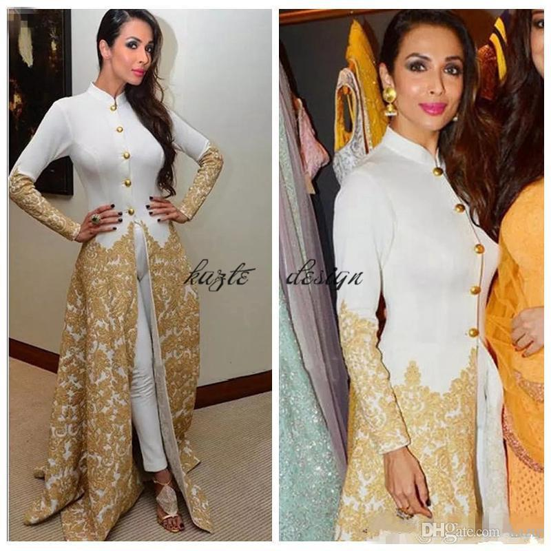 Saudi Evening Gowns Long Sleeves High Neck Caftan With Pants Gold Lace Appliques Malaika Arora Khan Arab Formal Prom Party Gowns