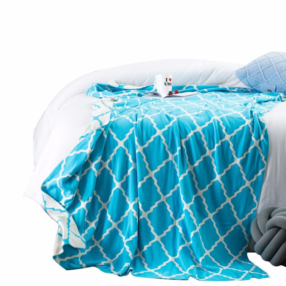 Grosshandel Decken Stilvolle Blau Weiss Streifen Muster Stricken