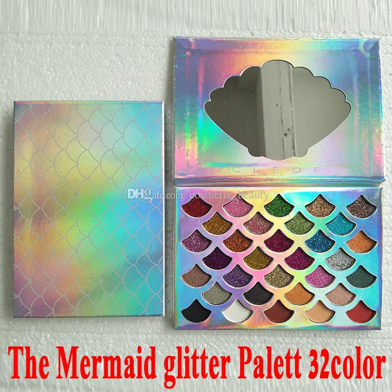 Fashion Women Beauty Cleof Cosmetics The Mermaid Glitter Prism Palette Eye Makeup Eyeshadow Palette DHL free shipping