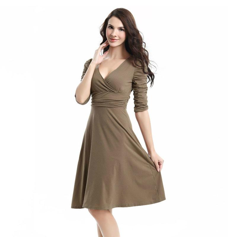 a57a960d433 2019 Spring Dress 2018 Empire Sexy Dresses Full Sleeve Solid Causal Vestidos  Plus Size A Line Women Dress Basic Wild Office Dress From Wei471335045