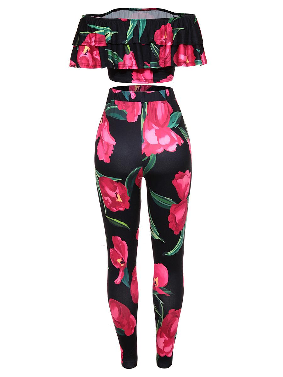 Ruby's Closet Hot selling Europe style sexy women two piece pants set floral printing slash neck top long pants set Sale MC5353
