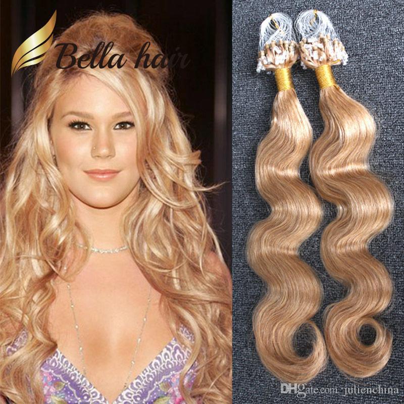 8A 1g/strand 100gBrazilian hair Micro Ring Loop Body Wave Indian Malaysia Peruvian human hair Grade BellaHair