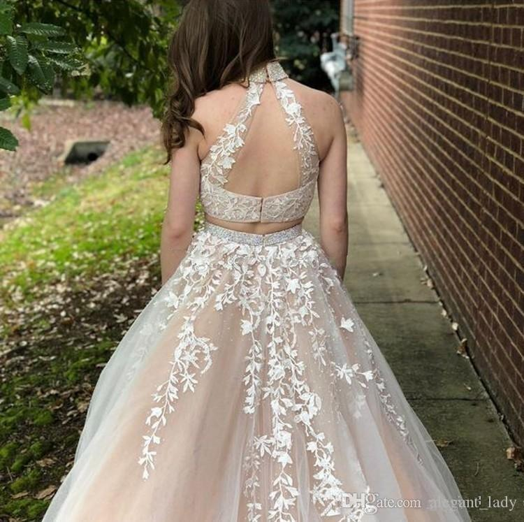 Gorgeous Appliqued Lace Tulle Prom Dresses High Neck Ivory Champagne Backless 2018 sweet girl 16 Two Piece evening homecoming Dresses