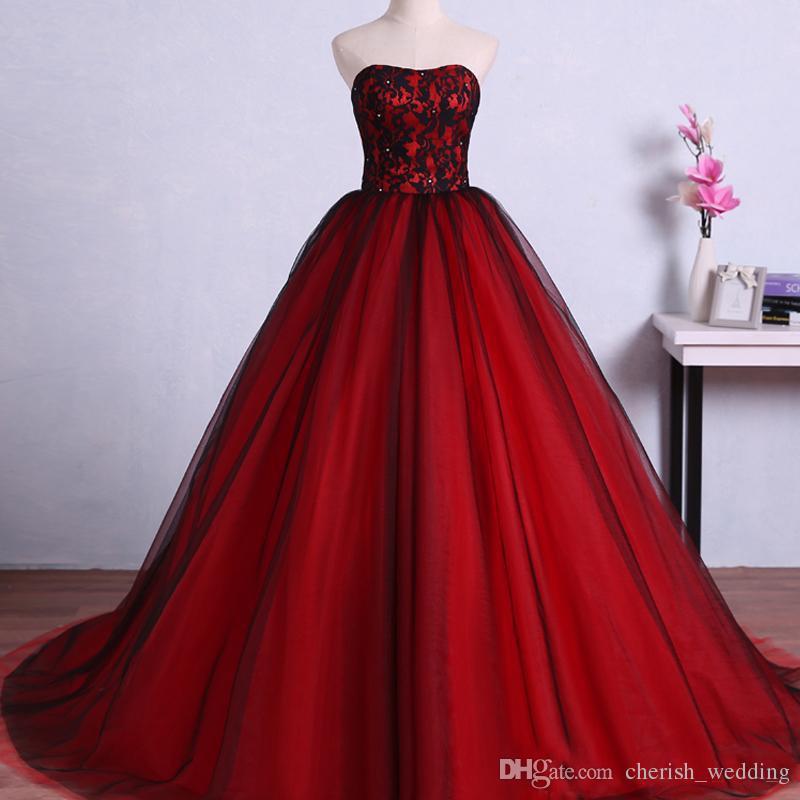 2cac7777f992 Vestido De Casamento Estilo Princesa Vestidos De Casamento Colorido  Vermelho E Preto Querida Lace Up Corset Voltar Frisado Lace Top Tule Saia  Vestidos De ...