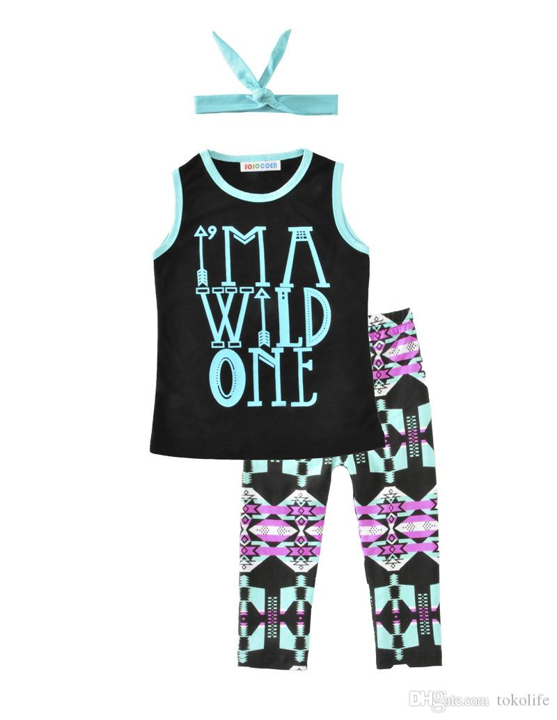 New Girls Baby Childrens Clothing Set Letters tshirts Pants Headbands Set Fashion Summer Girl Kids Tops Suits Boutique Clothes Outfits