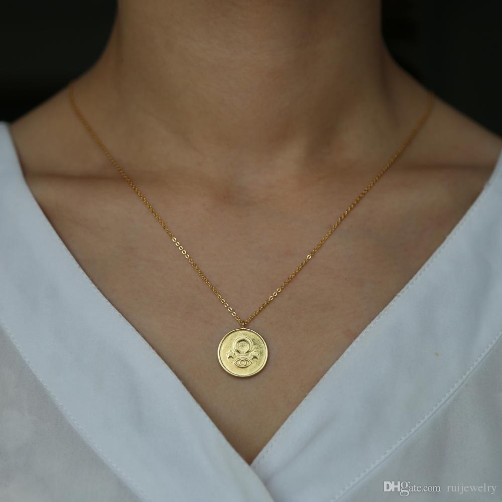786bb0989e089 Gold color vintage round coin pendent necklace carved moon star evil eyes  925 silver necklace delicate thin chain Sequin Jewelry