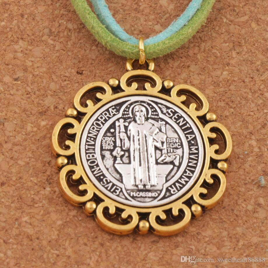f5415530d08 2019 Religious Jewelry DIY Flower Saint St Benedict Medal Cross Spacer Charm  Beads 2 Tone Pendants 37x33mm T1705 From Sweetheart88888, $15.23 |  DHgate.Com