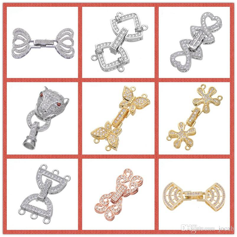 Wholesale Jewelry Findings Components Handmade DIY Pearls Bracelet Necklace Fold Over Clasps Micro Pave Zircon Rhinestone Copper Connectors