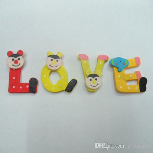 26 adet / grup Mıknatıs eğitim öğrenme oyuncaklar ahşap ahşap karikatür alfabe A-Z mıknatıslar çocuk eğitici oyuncak çocukla ...