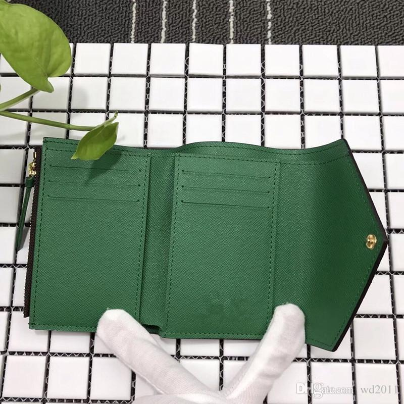 أعلى جودة النساء رجل مع صندوق جلد حقيقي متعدد الألوان قصيرة المحفظة حامل بطاقة سحاب الكلاسيكية جيب فيكتورين
