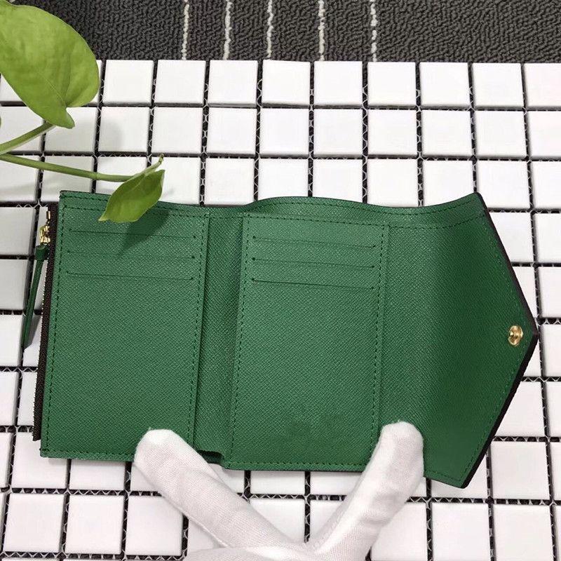 homem mulheres de qualidade superior com caixa de couro real multicolor titular do cartão curto carteira zipper clássico bolso Victorine