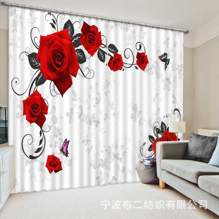 Grosshandel Schone Blumen 3d Rose Blackout Vorhange Fur Wohnzimmer