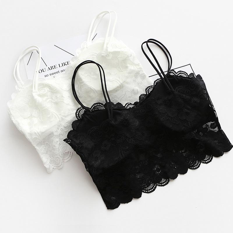 7d89ea77a9c29 2018 Women Sexy Vest Chest Padded Tank Tops For Women Wearing Fitness  Underwear Lace Bralette Crop Top Ladies From Duixinju