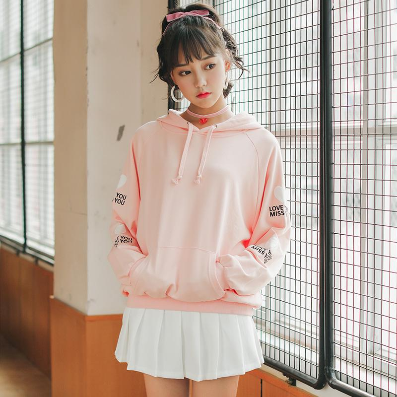 2018 Womens Hoodies Tunic Japan Harajuku Ulzzang Letter Embroidery
