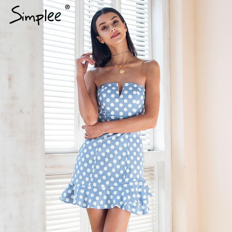 Simplee Backless Compre Mini Mujer Lunares Sexy Vestido De Strapless xCerBdo
