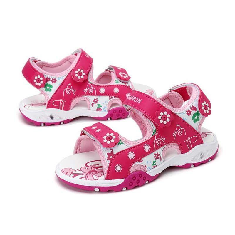 d06fad6837a99 Acheter Chaussure Enfant Sandales Fille Fleur Peach Toecap Chaussures Fille  Été Antidérapant Et Fond Souple Sandale Princesse Plage Chaussure Pour  Enfants ...