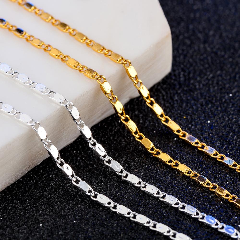 New Slim New Gold Jewelry Women Mens Curb Necklace 2mm Long 45cm 50cm 55cm 60cm 65cm 70cm 75cm 80cm Link Chains X221