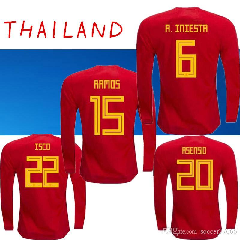 S 2XL 2018 Camiseta De Fútbol De Manga Larga De España   6 A.INIESTA   7  MORATA   22 ISCO   20 M.ASENSIO   15 RAMOS   21 Copa Mundial De SILVA 2018  Camiseta ... 73f53a820b2d1
