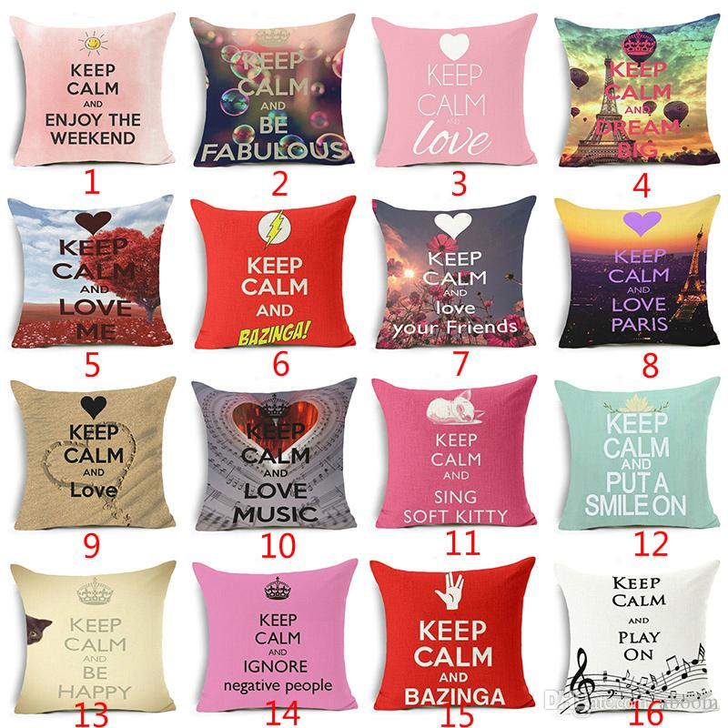 KEEP CALM Cushion Cover Funnt Letter Helium Balloon Home Decorative Pillow case for Sofa Keep Calm To Certain State