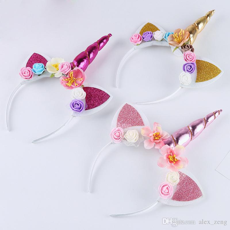 Unicorn Horn Hairband Kids Unicorn Headband for Party Hair Accessories Flower Hair Clasp Cosplay Crown Children Cat Ears Hair Accessories