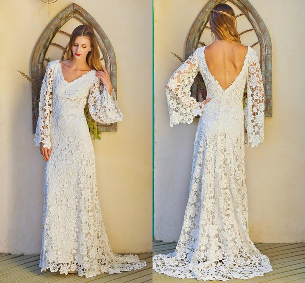 1980s Intage Lace Wedding Dresses V Neck Long Sleeves 2017 Sheer ...