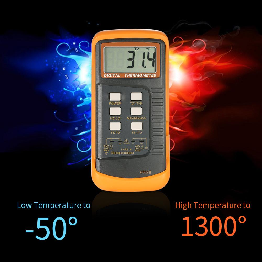 Digital Thermometer 2 Channel Type K thermostat Thermocouple temperature Sensor thermoregulator Data Hold Auto Power off Func