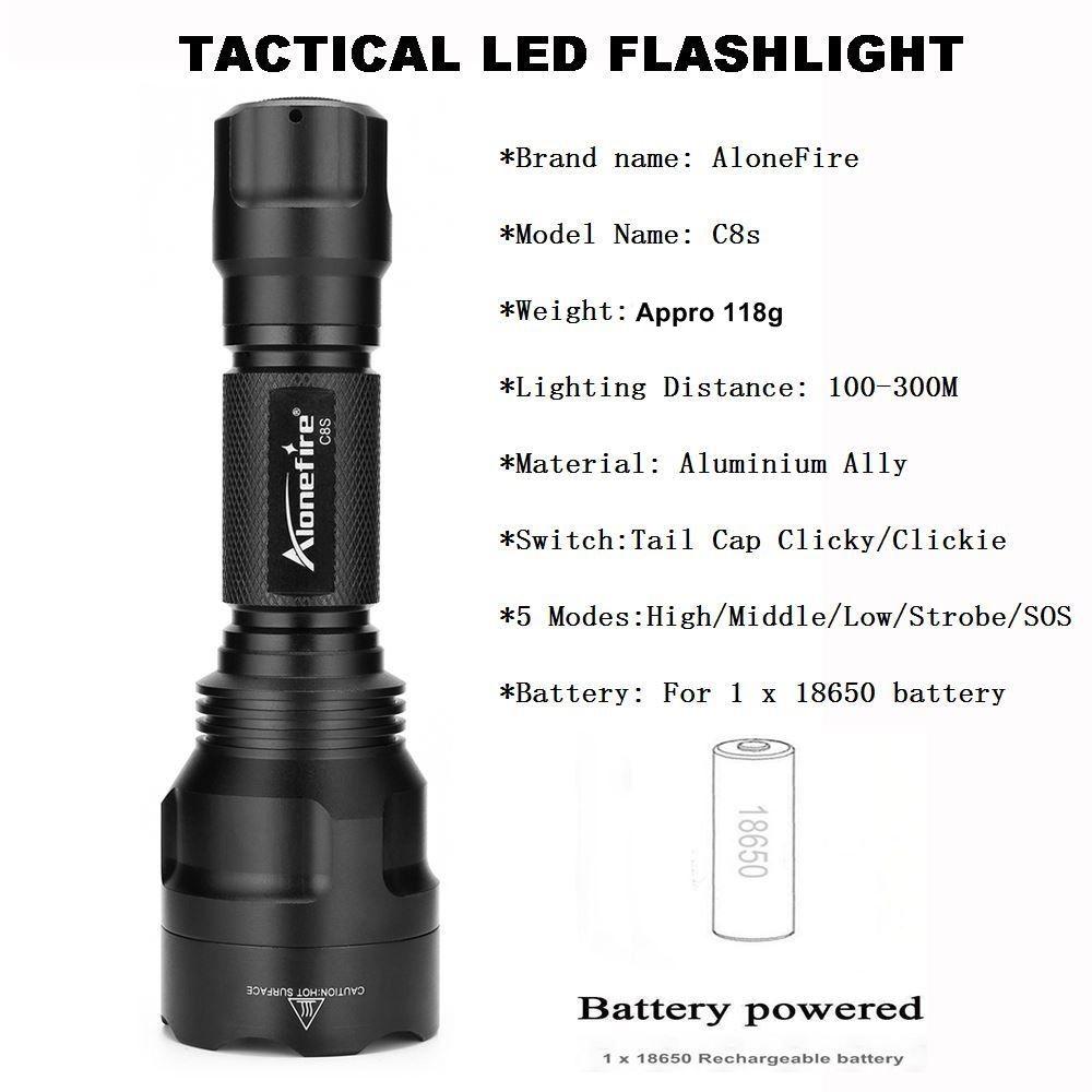 AloneFire C8s Tactical Flashlight 18650 Cree XML-T6 Powerful Flash light Portable Torch light Lamp Bike Light Camp hunting