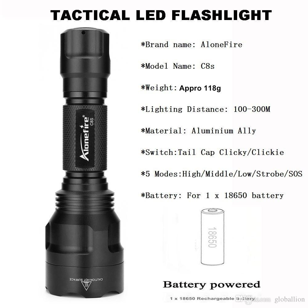 AloneFire C8s Tactical Flashlight CREE T6 Flashlight Waterproof LED Torch Camping lamp Tactical hunting flashlight for 18650 battery