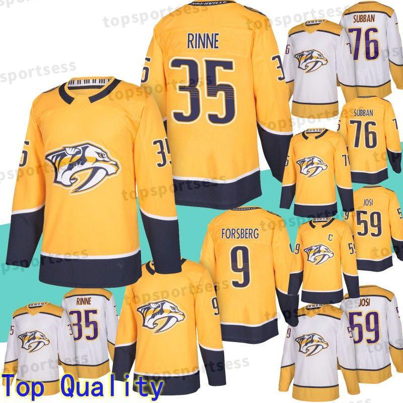 outlet store f5761 1ce04 35 Pekka Rinne Jersey Nashville Predators 76 P.K. Subban 59 Roman Josi 9  Filip Forsberg Hockey Jerseys Embroidery