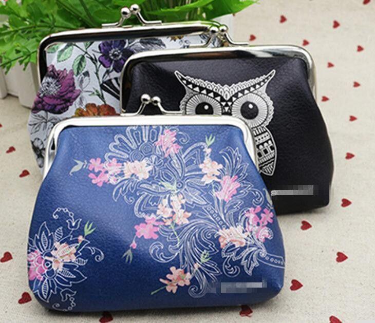 childgren женщины мини сова птица цветок бумажник карты держатель чехол портмоне сцепления сумка 12 шт./