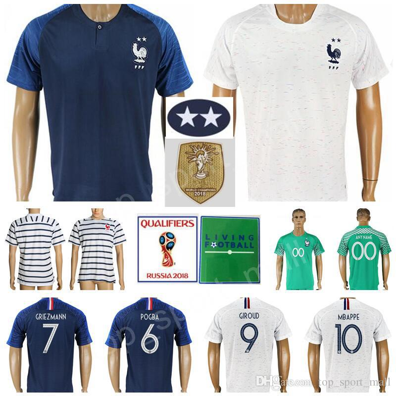2018 Men Soccer Jersey Two 2 Stars Griezmann Mbappe Pogba Giroud Matuidi  Fekir Lemar Dembele Kante Football Shirt Kid Kit 2018 World Cup Champion  From ... e84be87cc