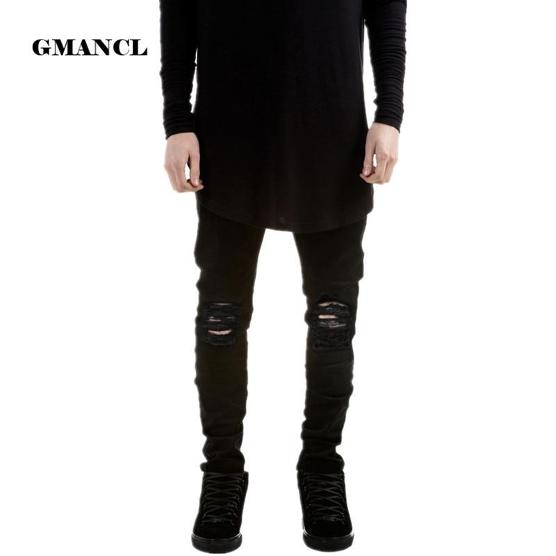 Designer Brand New Men Black Jeans Skinny Ripped Stretch Slim Fashion Hip Hop Swag Man Casual Denim Biker Pants Overalls Jogger S913