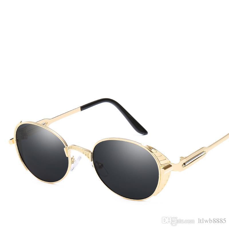73862a8dc46ff Compre 2018 New Round Metal Óculos De Sol Steampunk Homens Mulheres Moda  Óculos De Marca Designer De Retro Vintage Óculos De Sol Uv400 De Ltlwb8885,  ...