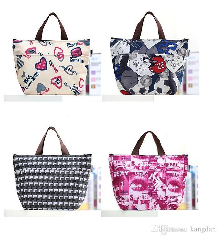 Mulheres Almoço saco de Mão Floral sacos de refrigerador de tecido oxford saco de folha de alumínio ao ar livre isolados Food bottle Picnic Lunch boxs saco de armazenamento