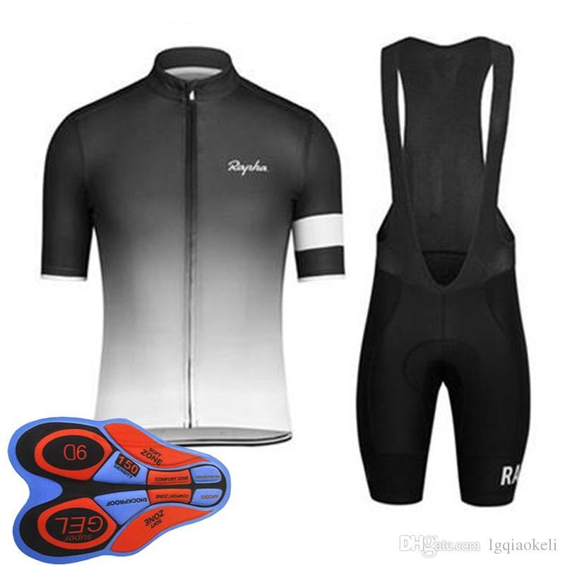 2018 Rapha yeni yaz dağ bisikleti kısa kollu bisiklet forması kiti hızlı kuru erkekler ve sürme gömlek önlük şort seti 9D jel ped D1795