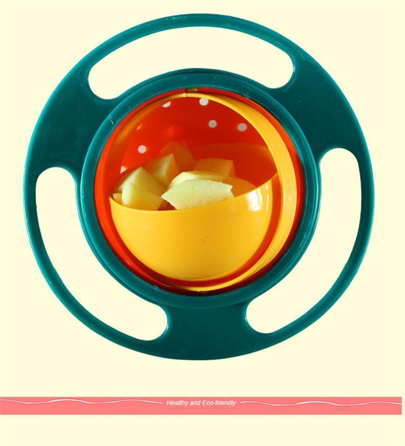 Top quality Não Derramar Ferramenta de Alimentação Da Criança Giroscópio Tigela 360 Graus de Rotação Do Bebê Evitar Derramamento De Alimentos tigela alimentação infantil Aprendendo Pratos