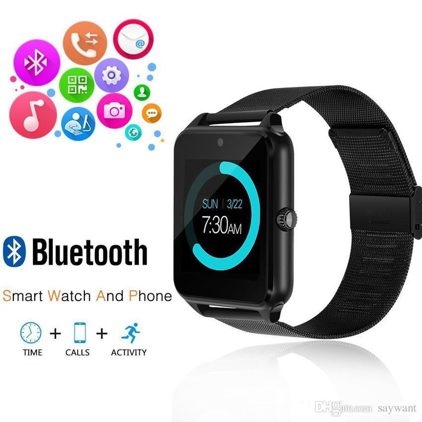 IOS 안드로이드에 대한 Z60 스테인레스 스틸 블루투스 스마트 시계 전화 GT09 지원 SIM TF 카드 카메라 피트니스 추적기 Smartwatch를