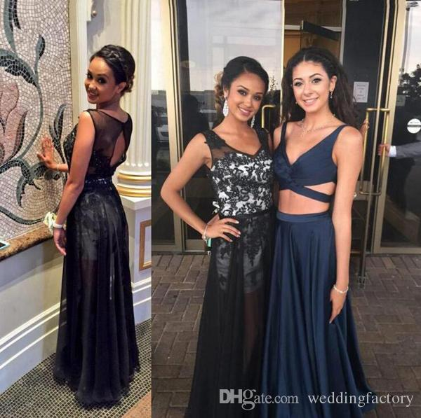 Black and White Sexy Prom Dresses Sheer V Neck Cut Out Open Back Beaded Lace Appliques Sheer Skirt Evening Party Gowns Custom Colors