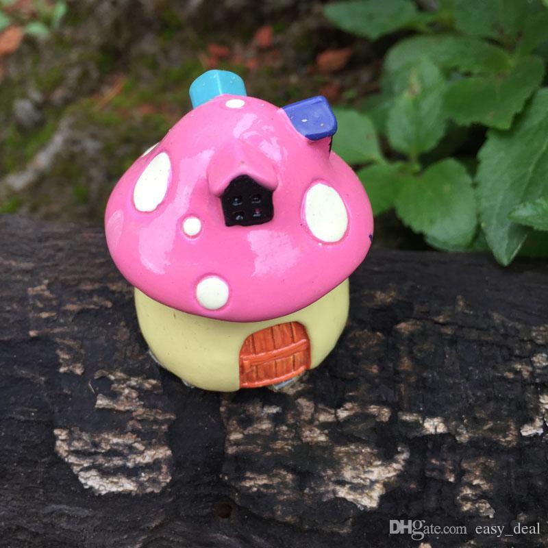 FAI DA TE Micro Mushroom House Resina Artigianato Mini Paesaggio Casa Casa delle Bambole Fata Decorazione del Giardino Bonsai Decor Ornamenti ZA5878