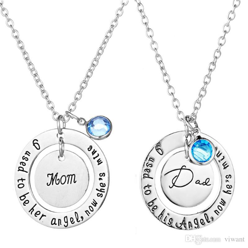 2018 New fashion Father Day Birthday Gift Memorial Jewelry Daddy mother Blue Gemstone Pendant Jewelry Dad mom Commemorative Angel Necklace