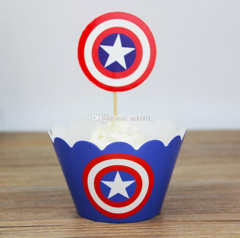 2018 Captain America Cake Topper Wrappers Toppers Set Cake Paper