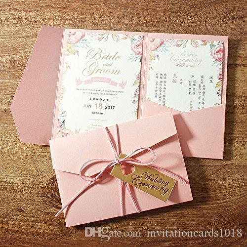 New Style 3 Folds Pink Wedding Invitations Cards With Heart Shape
