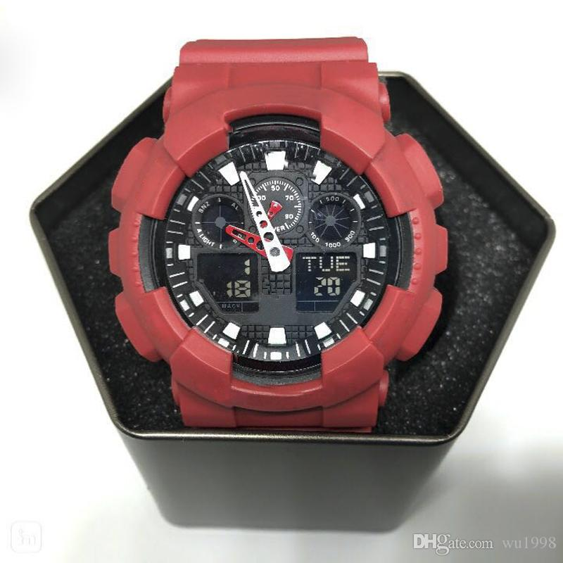 Large watches, men's sports dial watches, LED waterproof mountaineering digital men's watches, all pointer work, boxes, automatic lights.
