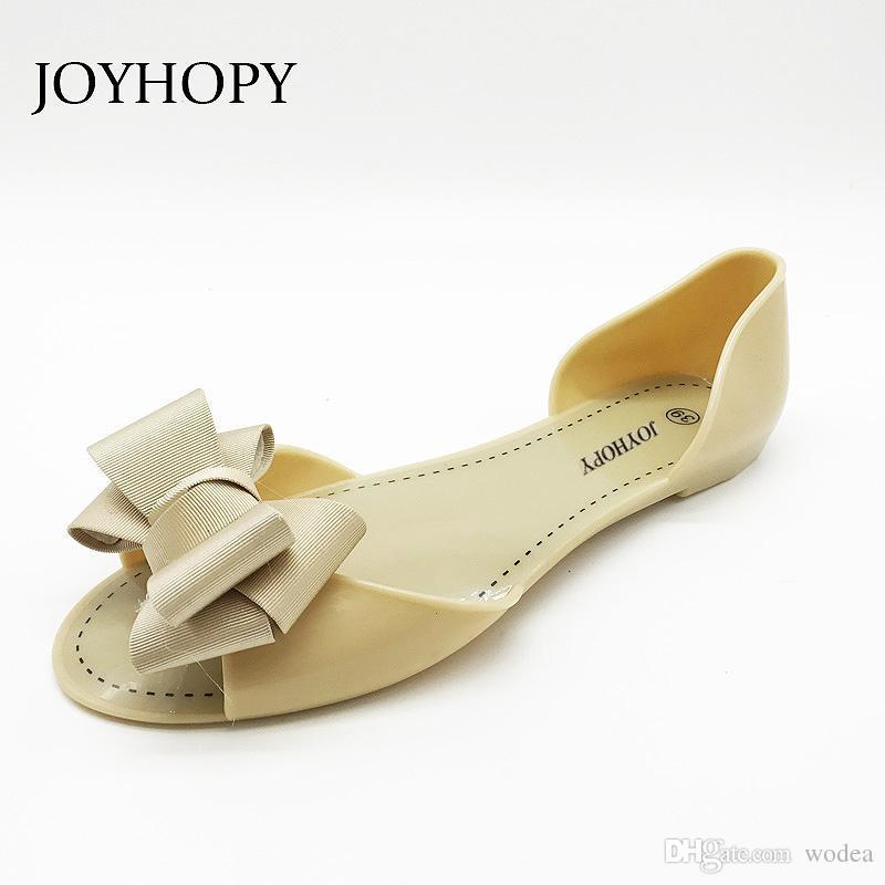 0f4e6e0dbf67 JOYHOPY Women Jelly Sandals Beach Jelly Shoes Woman Summer Flip Flops  Bowtie Slippers Slip On Flats Casual Women Shoes High Heels Heels From  Wodea