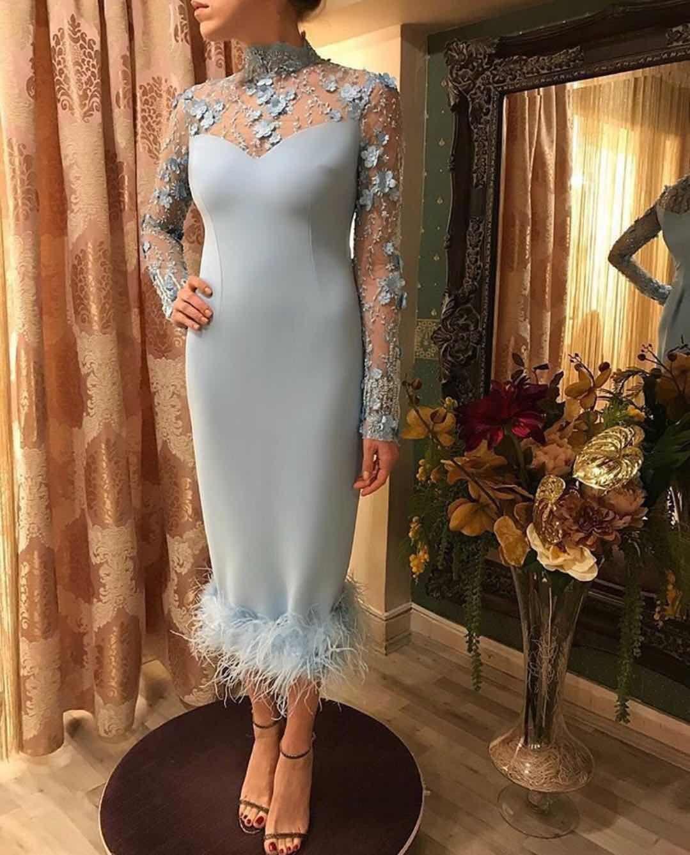 High Neck Feather Long Sleeves Hand Made Flower Elegant Graceful Tea Length Evening Dresses Prom DRESSES Custom Made