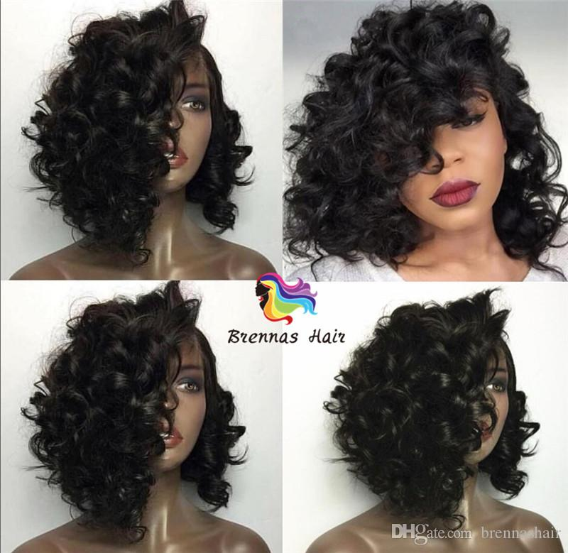 high quality Luxury 10-14inch 150% Density Front Lace short Curly Wigs with Bleached Knots 100% Natural Human Hair for black woman