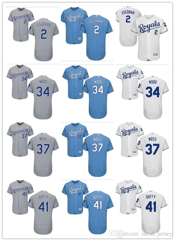 Custom Men Women Youth Kansas City Royals Jersey  2 Alcides Escobar 41  Danny Duffy 34 Travis Wood 37 Brandon Moss Blue Baseball Jerseys Men Women  Youth ... 02005c8f9