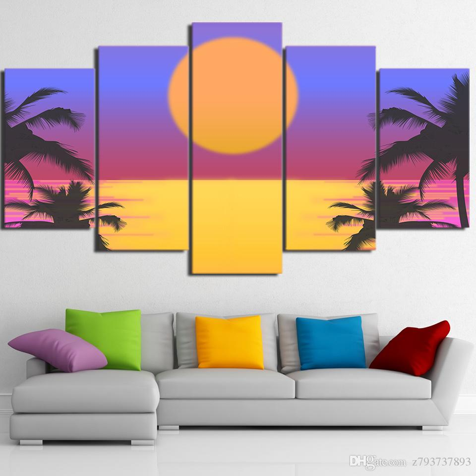 2018 Modern Framework Hd Print Wall Art Poster Sun Scenery Canvas ...