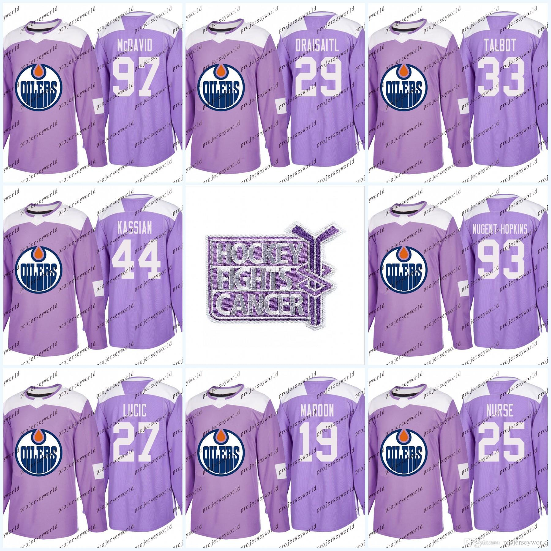 arrives d0242 41c62 Youth 44 Zack Kassian Purple Fights Cancer Practice Edmonton Oilers 97  Connor McDavid 33 Cam Talbot 93 Ryan Nugent-Hopkins Hockey Jerseys