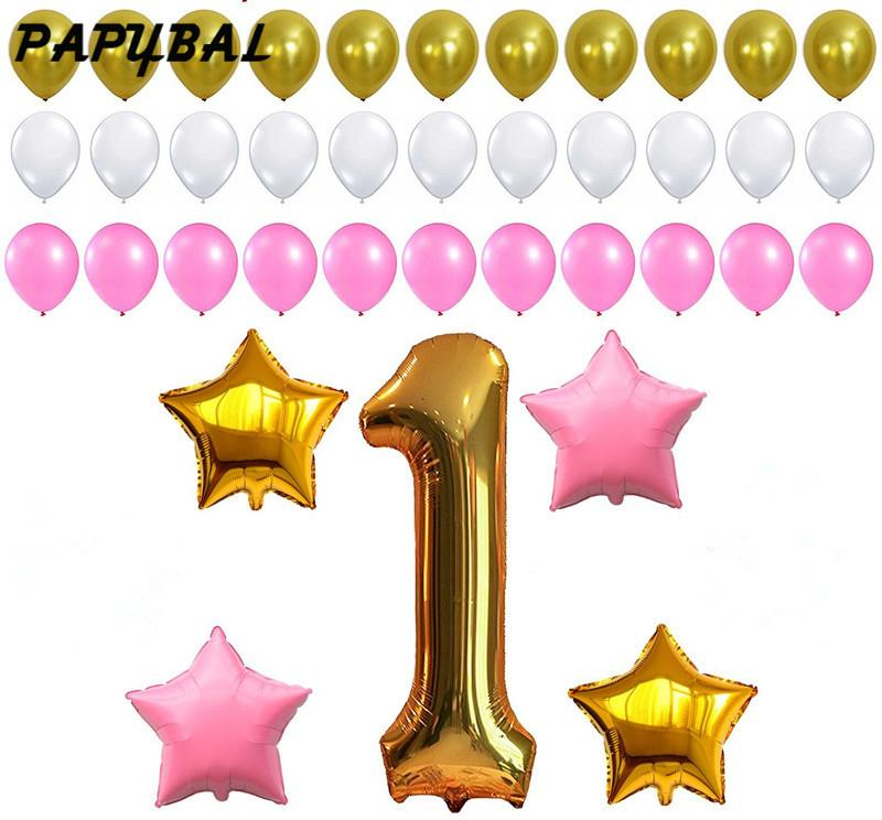 1st Birthday Decoration Pink White Gold Balloons For Baby Girl Or Boy Number One 1 Latex Party Supplies 50th Themes